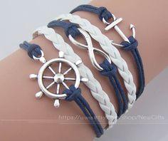 Gouvernail Bracelet ancre Bracelet infini Bracelet-nautique bracelet bracelet ancre - Karma, bracelet corde cire bleu marine, bracelet cool