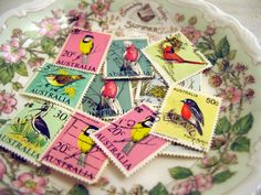 Birds Vintage 1960s Australian Stamps