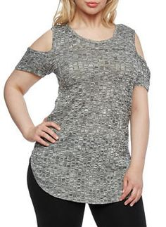Plus Size Marled Knit Top with Cold Shoulders - 0912058939340