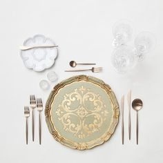 RENT: Florentine Chargers in Sage/Gold + Signature Collection Dinnerware + Moon Flatware in Brushed Rose Gold + Czech Crystal Stemware + Antique Crystal Salt Cellars  SHOP: Florentine Chargers in Sage/Gold + Moon Flatware in Brushed Rose Gold