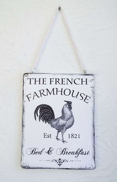 French Rooster Farmhouse Plaque Sign Paris Chic Cottage