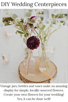 Yes, you can create the most elegant, boho wedding with vintage (and vintage-inspired!) details! Using a collection of three mismatched bottles or vases, create your bohemian dreamscape with a mixture of deep toned flowers and long, elegant sprigs.  Work with three as odd numbers always create the best aesthetics. Mix up flowers and greenery for a very custom look.  Work with different heights and don't be afraid to use a single flower or sprig! Place upon a wooden base for dreamy texture. Free Wedding, Diy Wedding, Wedding Gifts, Wedding Ideas, Wedding Pictures, Elegant Wedding, Irish Wedding, Budget Wedding, Wedding Bells