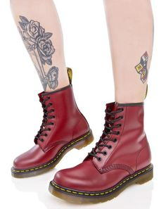 Cherry Red 1460 8 Eye Boots Stivali Punk afea53923df