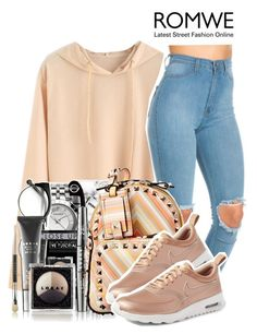 """""""Romwe"""" by isabellacarolina161 ❤ liked on Polyvore featuring LORAC, Valentino and NIKE"""