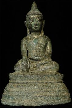 """Deeply serene 17/18thC Burmese bronze Buddha in a Mon style. Sits 6.5"""" tall. Beautiful complex patina with some original gilding."""