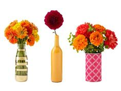 Turn recyclables into pretty centerpieces. Click here to see how to make each of these lovely vases.