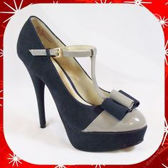 """KDNY Black & Gray Suede Bow Platform Heels 7.5 M Black suede """"Tildia"""" platform heels from KDNY (Kelsi Dagger). Original Retail $130. Gray patent leather across the toes and bow detail. Size 7.5M. These shoes have a 1.25"""" platform lift and a 5.5"""" stiletto heel. They no longer have the box. Small black scuff on toe and slight damage on left outer shoe (please see all pics). Kelsi Dagger Shoes Heels"""