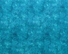 Teal Blue Vines Swirls Spirals Quilter's Weight Cotton Print Fabric - One Yard - Yardage - By the Yard by SuchPrettySupplies on Etsy