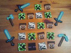 minecraft perler beads: steve, creeper, skeleton, enderman, sword, axe, pickaxe