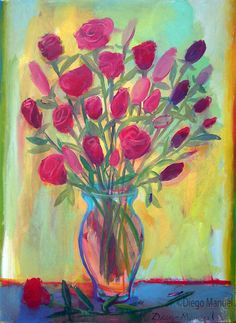 """Rosas rojas 4 "", acrylic on canvas , 50 x 70 cm. 2016."