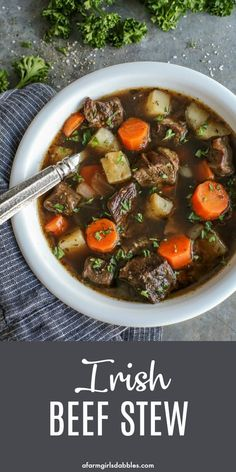 Irish Beef Stew - This Irish stew recipe is rich and hearty, and easy to make. Chunks of beef, potatoes, and carrots simmer until ultra tender in a flavorful beef broth that includes Irish Guinness beer and red wine. #irish #beef #stew #guinness #wine #potatoes #carrots #stpatricksday #comfortfood Irish Recipes, Top Recipes, Beef Recipes, Recipe For Irish Stew, Viking Recipes, Recipe Stew, Recipe Box, Baked Corned Beef, Recipes