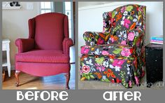 Before / After Gray Floral Slipcover by The Slipcover Girl, via Flickr