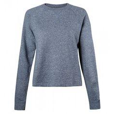 Women's Cotton Loopback Cropped Sweatshirt in Masonry Mouline