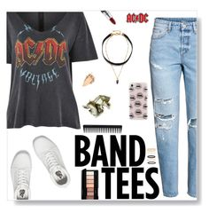 """""""I'm with the band - band tees."""" by iamthelizardqueen ❤ liked on Polyvore featuring Topshop, H&M, Vans, MAC Cosmetics, Rebecca Minkoff, GHD, AC/DC and Accessorize"""