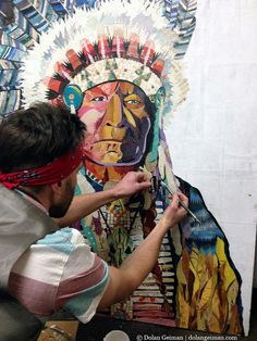 Dolan Geiman working on The Chief original collage. Large scale original paper collage depicting Native American Indian Chief wearing traditional tribal garb and feather headdress. Classic Americana a(Mix Children Indian) Art And Illustration, American Indian Art, Native American Indians, Paper Collage Art, Paper Art, Collages, Kunst Der Aborigines, Collage Portrait, Portraits