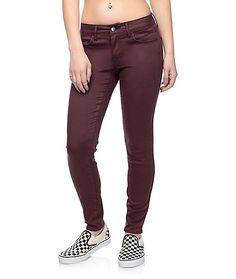 It's time to update your sassy pants and we don't mean your attitude. These Delaney burgundy sateen skinny pants by Empyre are the perfect shade of burgundy with an incredibly soft and flexible feel. The tri-blended material provides ultimate stretch and