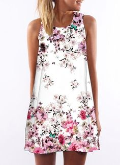 Cotton Floral Sleeveless Above Knee Casual Dresses (1051870) @ floryday.com