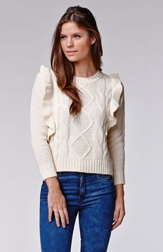 1a34e0ab4c Lucca Couture Ruffle Long Sleeve Sweater