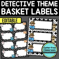 DETECTIVE THEME Editable Labels by CLUTTER FREE CLASSROOM - These organizational labels have many uses in the classroom or home school. They can be classroom library labels, name tags for cubbies or desks, supply labels, used for organizing centers, and m Classroom Library Labels, Elementary Classroom Themes, 4th Grade Classroom, Classroom Organization, Classroom Decor, Organizing, Classroom Resources, Detective Theme, Supply Labels