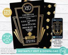 Great Engagement Invitation Gatsby Art Deco Couple's Shower Invite 1920s Party INSTANT DOWNLOAD Gold Black Twenties Edit Printable WCWE012 Art Deco Invitations, Engagement Invitations, Shower Invitations, Birthday Invitations, Printing Websites, Printing Services, Online Printing, 1920s Party, Couple Shower