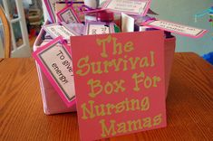 Unique baby shower gift - The Survival Box for Nursing Mamas! Cover, breast pads, resource books, oatmeal and wine!