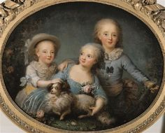 1781 Rosalie Filleul - The children of the comte d'Artois (Charles-Ferdinand d'Artois, duc de Berry, Mademoiselle d'Artois and Louis-Antoine, duc d'Angoulême)