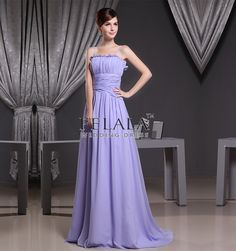 Simple Lilac Princess Floor Length Chiffon Spaghetti Strap Long Prom Evening Dresses With Ruche