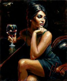 beautiful lady drinking red wine  - painting. Artist unknown?