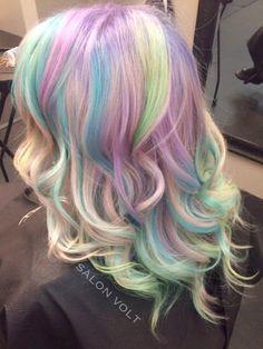 Pastel haircolor, pravana pastels, mermaid hair