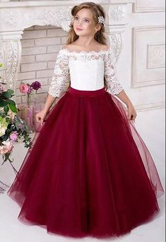 Half Sleeve Lace Cute New Brithday Party Baby Little Kids Flower Girl Dress Princess Girls Pageant Dresses Kids Prom Puffy Ball Gown