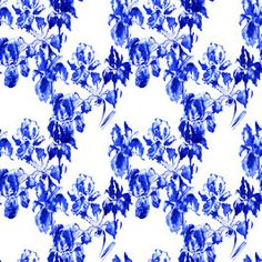 Indigo Blue Hand Painted Watercolor Iseses Small Scale #sfpattern #design #surface #pattern #print #fashion #indigo #blue #irises #iris #floral #patternbank  #watercolor #IrinaFo