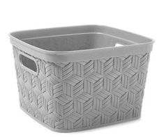 This cute basket is perfect for little belongings like make-up, keys, toiletries and more. Gray hue and sturdy construction with flex feature is great for home or office use.