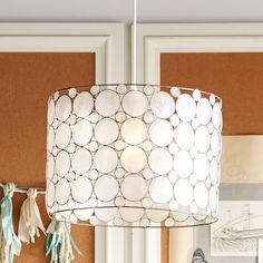 "Piper Capiz Hanging Pendant | PBteen  $159 18"" diameter x 20.5 high"