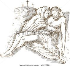 vector of a hand sketch drawing illustration of Mother Mary and the dead Jesus Christ with the cross of Calvary in the background isolated on white with gray wash - stock vector #crucifixion #sketch #illustration