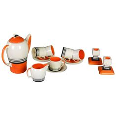 English Art Deco Tango Coffee Set By Susie Cooper From A Unique Collection