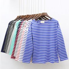 Ladies Casual Shirt Women's Spring Red White Striped 3/4 sleeve T shirt Tops For Woman Crew Neck Bottoming Tee Shirt 11 Colors #Cheap #Popular