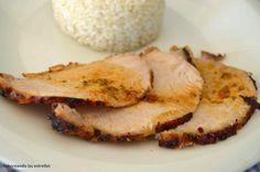 Lomo de cerdo asado al horno con aceite de trufa negra