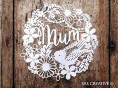 50% off Papercut Template Mum / Mom Mother's Day von SASCreative