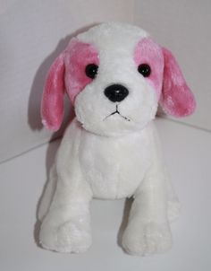 "Webkinz Plush PUDDING PUP. Very soft and cute White and Pink DOG. Webkinz item number H12089 No Code Stuffed Soft Toy polka Dot Collar about 9"" #Webkinz"
