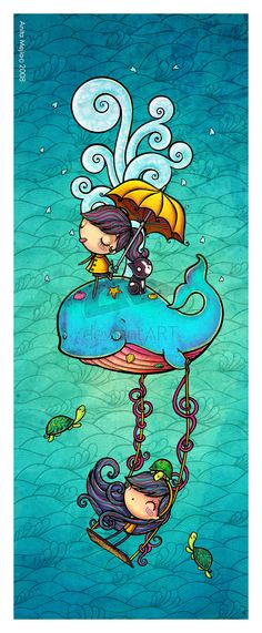 So many dang cute things in this picture! Happy whale by Chocolatita Art And Illustration, Illustrations, Fantasy Kunst, Fantasy Art, Whale Art, Whimsical Art, Cute Drawings, Cute Art, Amazing Art