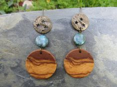 Ohrringe Olivenholz Holzohrringe azurit malachit stern blau