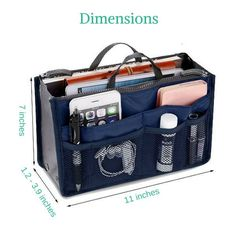 This multi-compartment organizer is a very practical purse organizer. It can be used as a travel organizer also and is of high quality at a low cost.