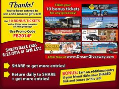 Enter to win a $50 Amazon.com gift card from the Dream Giveaway Facebook page.thank