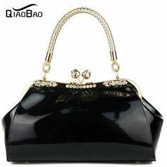 QIAO BAO 2017 New Fashion patent leather designers women handbags ladies  tote red wedding bride bags b19fecbd08
