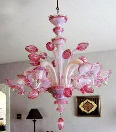 EXCLUSIVE rare MURANO Pink Hand blown glass tulips chandelier 6 arms 1960's