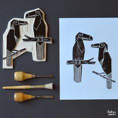 Andrea Lauren: Bird Block Print Stamps by Andrea Lauren, great examples for high school students