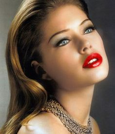 Perfect red lipstick.