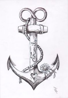 "I dig how it says family on the anchor - maybe replace that with my family name ""Royse"" and lose the flower. Great tat idea"