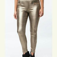 Walking on Sunshine Metallic Leggings Super shiny, super rock star NWT gold leggings    Follow us on instagram @hautemessclothing umgee  Pants Leggings