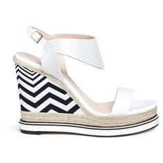 Nicholas Kirkwood 'Leda' chevron patent leather espadrille wedge... ($545) ❤ liked on Polyvore featuring shoes, sandals, espadrille wedge sandals, summer wedge sandals, platform shoes, wedges shoes and espadrilles shoes